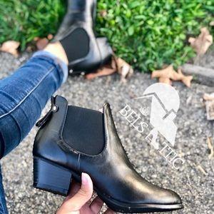 Low Heel Black Ankle Booties